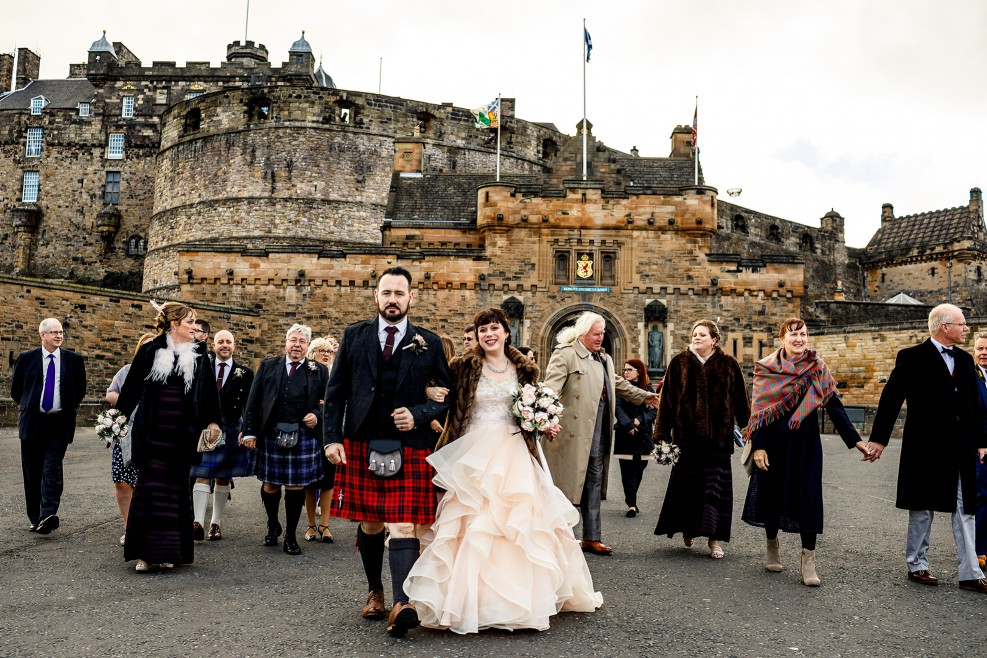 Unique Wedding Venues- Unconventional Wedding- Lina & Tom Photography- couple outside edinburgh castle