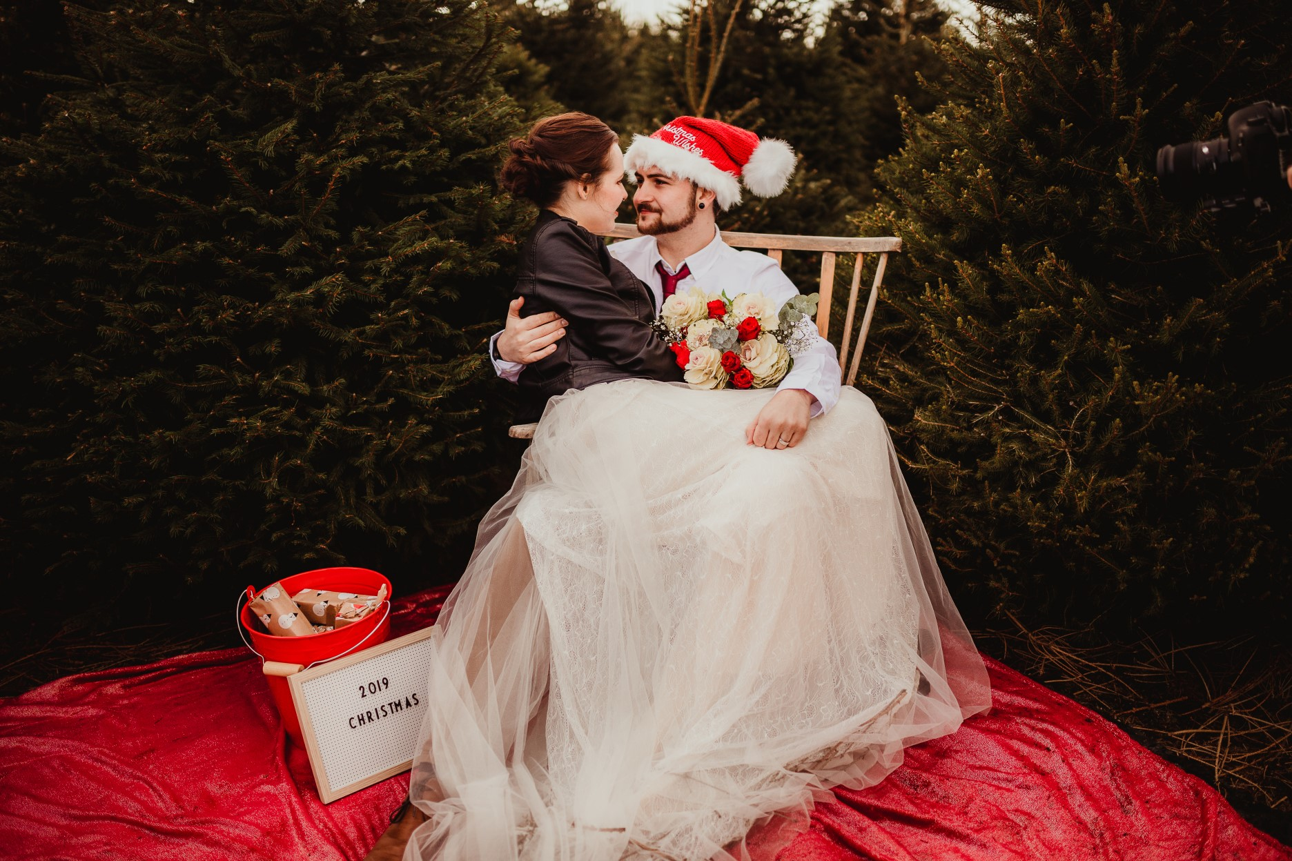 christmas elopement wedding- alternative wedding- christmas wedding- fly on the wall photography- santa wedding