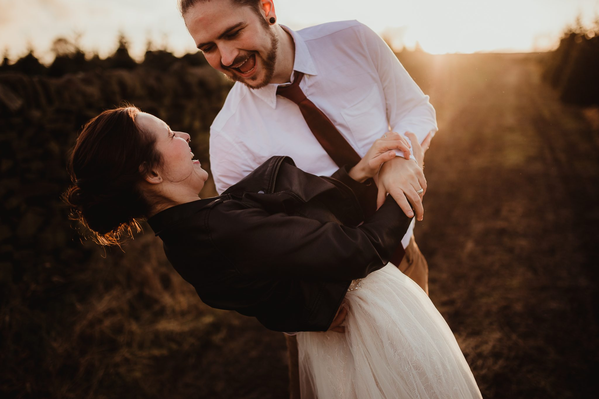 christmas elopement wedding- alternative wedding- christmas wedding- fly on the wall photography- couple dancing at a christmas tree farm