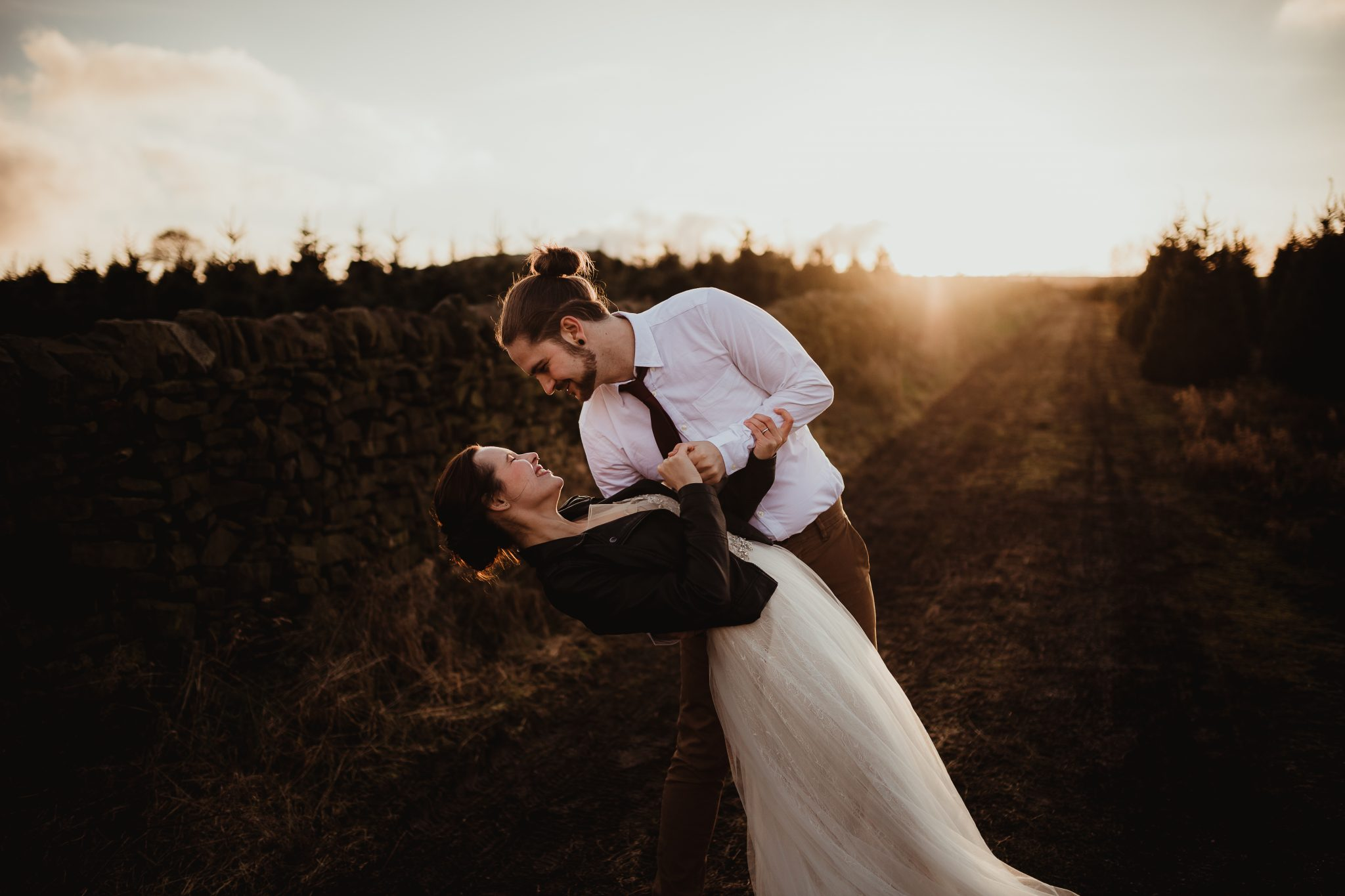 christmas elopement wedding- alternative wedding- christmas wedding- fly on the wall photography- wedding at a christmas tree farm- couple dancing outdoors