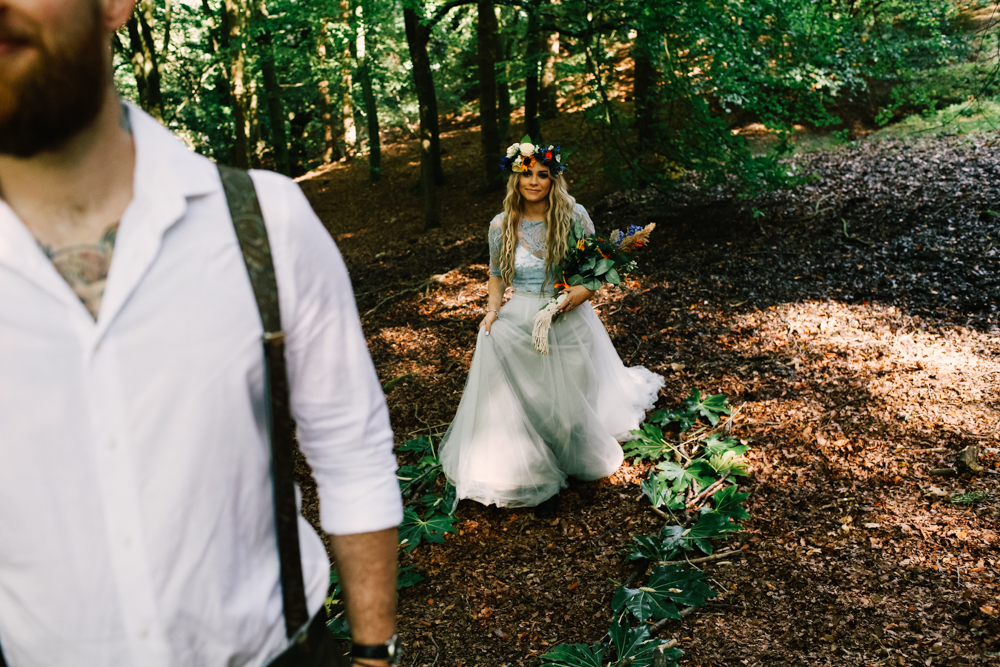 bohemian forest wedding - micro-wedding - forest elopement - small weddings - alternative wedding - outdoor wedding - covid wedding