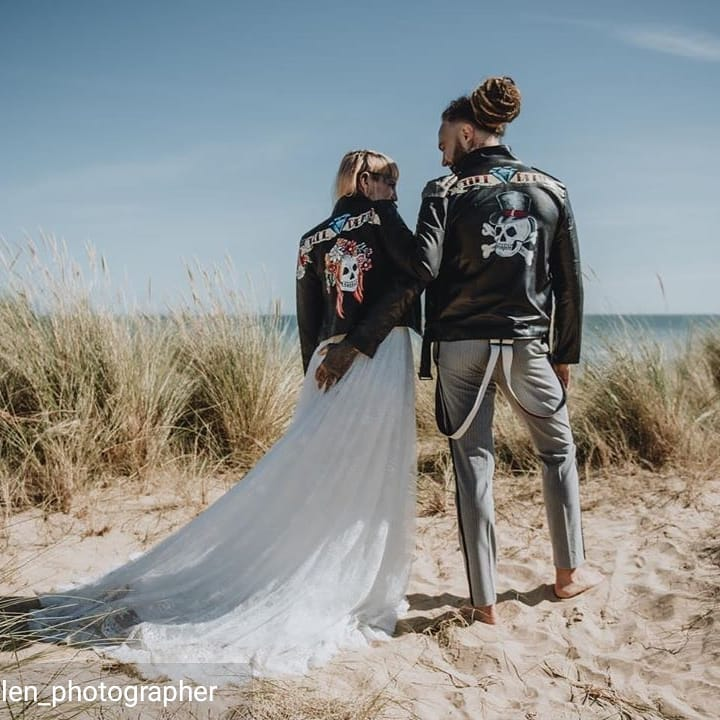 til death do us part - hand painted bridal jackets with skulls and flowers - by sammy lea's retro emporium - beach photo