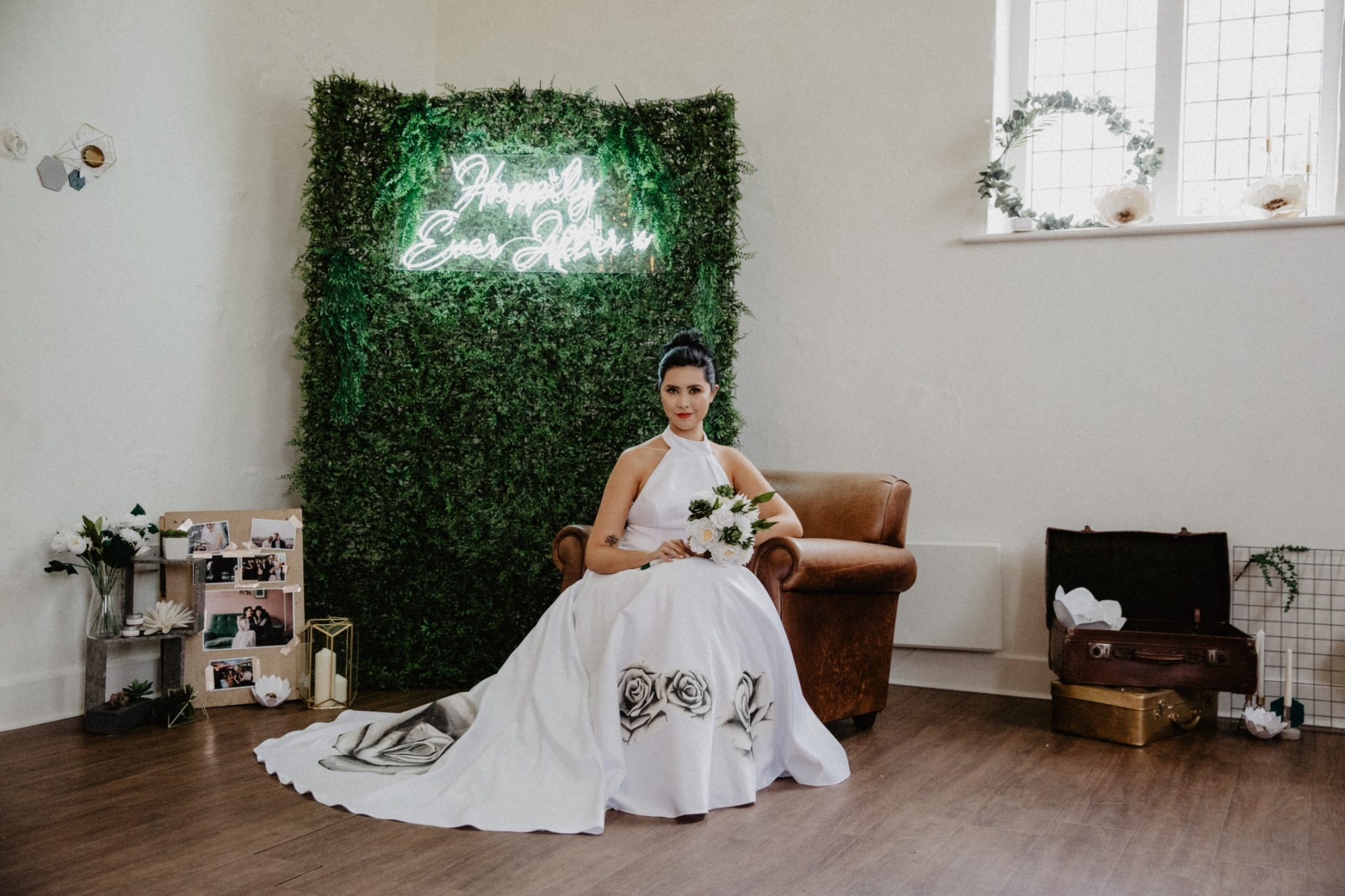 hand painted wedding dress with black roses from aylin white designs - bespoke hand painted bridal gowns - alternative wedding dress ideas 2