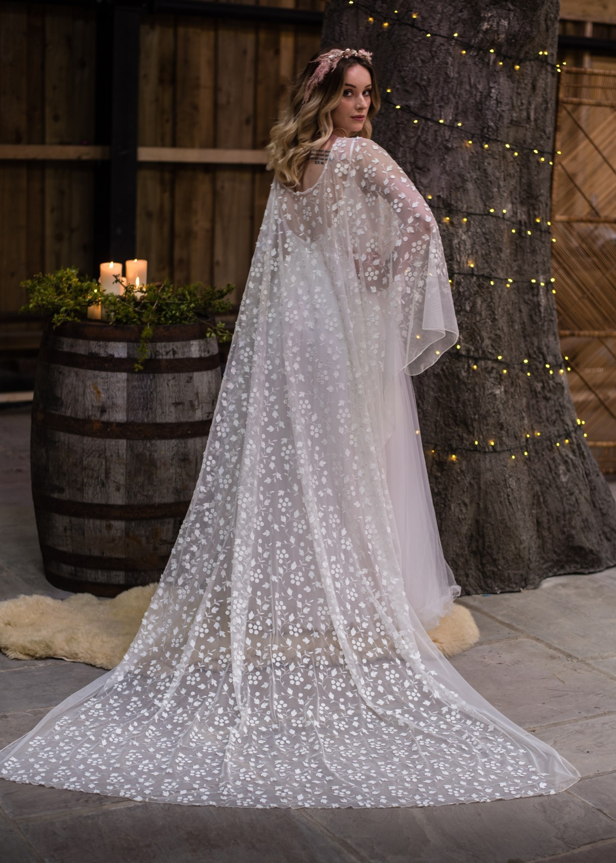 intricate wedding veil from bexbride - eclectic brides - wedding cape with sleeves - alternative wedding wear for the unconventional bride