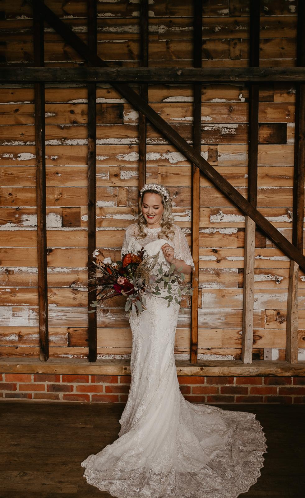 Modern barn wedding- jessica lily photography- unconventional wedding- unique bridalwear- wedding flowers