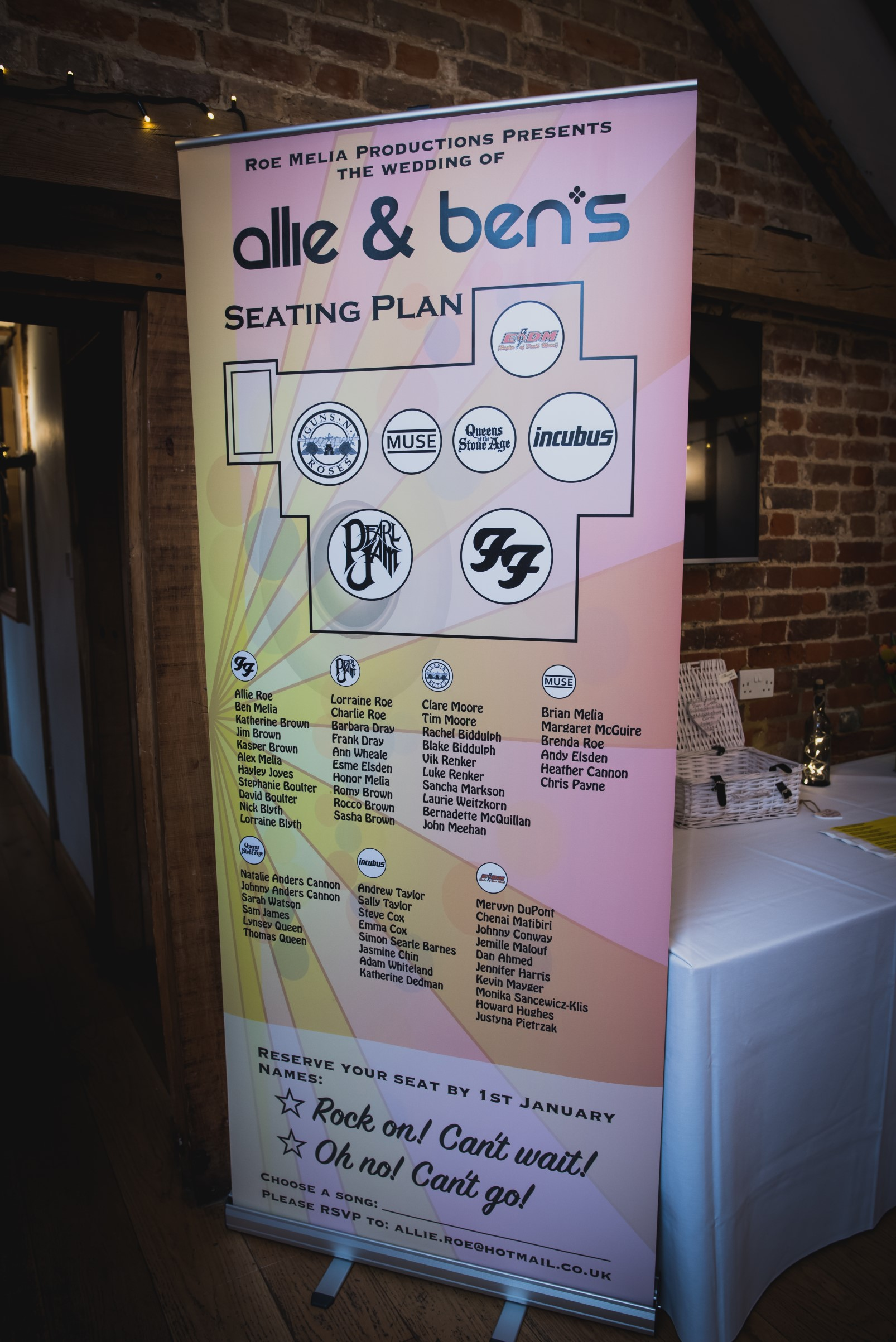 rock and roll wedding- pike photography- unconventional wedding- alternative wedding- music themed seating plan