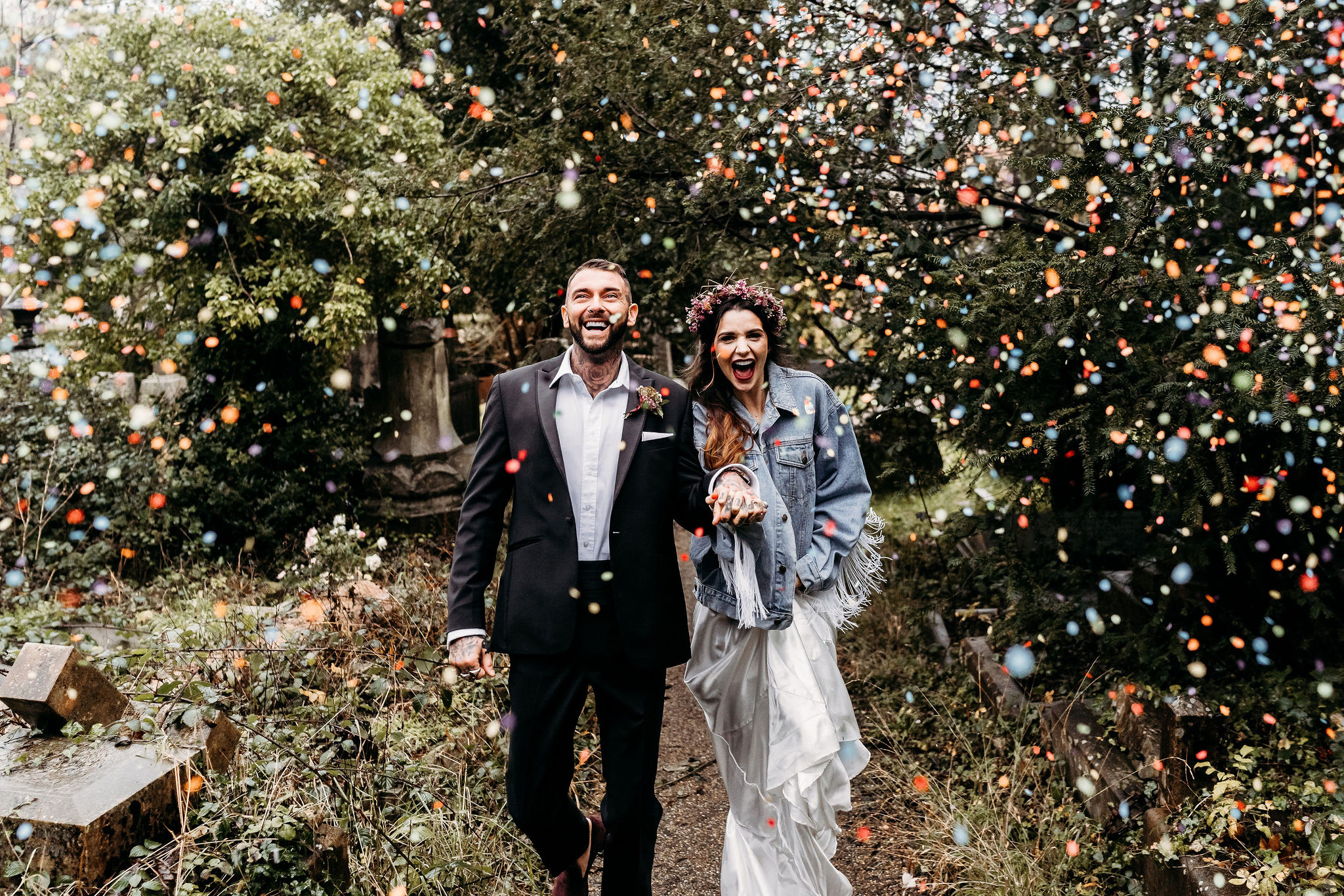 Leesha Williams Photography- Unconventional Wedding- Celestial Wedding Inspiration- alternative wedding- wedding confetti shot