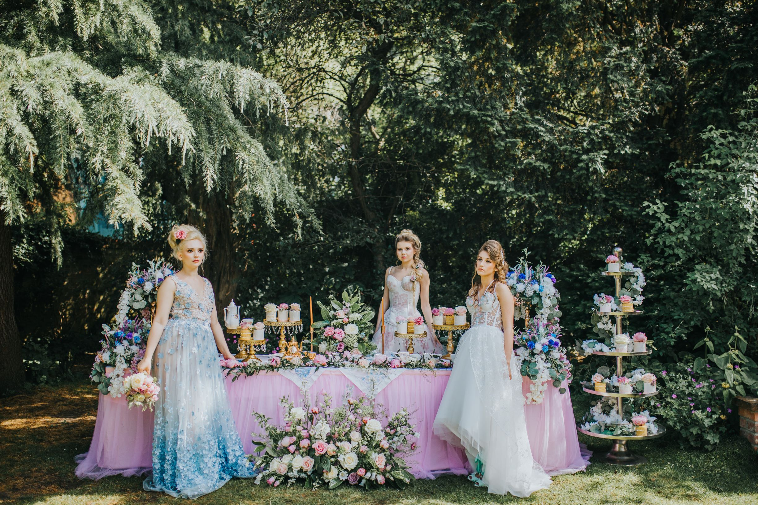 Whimsical wedding- coloured wedding dress- Laura Beresford Photography- unconventional wedding- alternative wedding- tea party wedding- unique wedding dress- alternative bridalwear- quirky wedding cakes