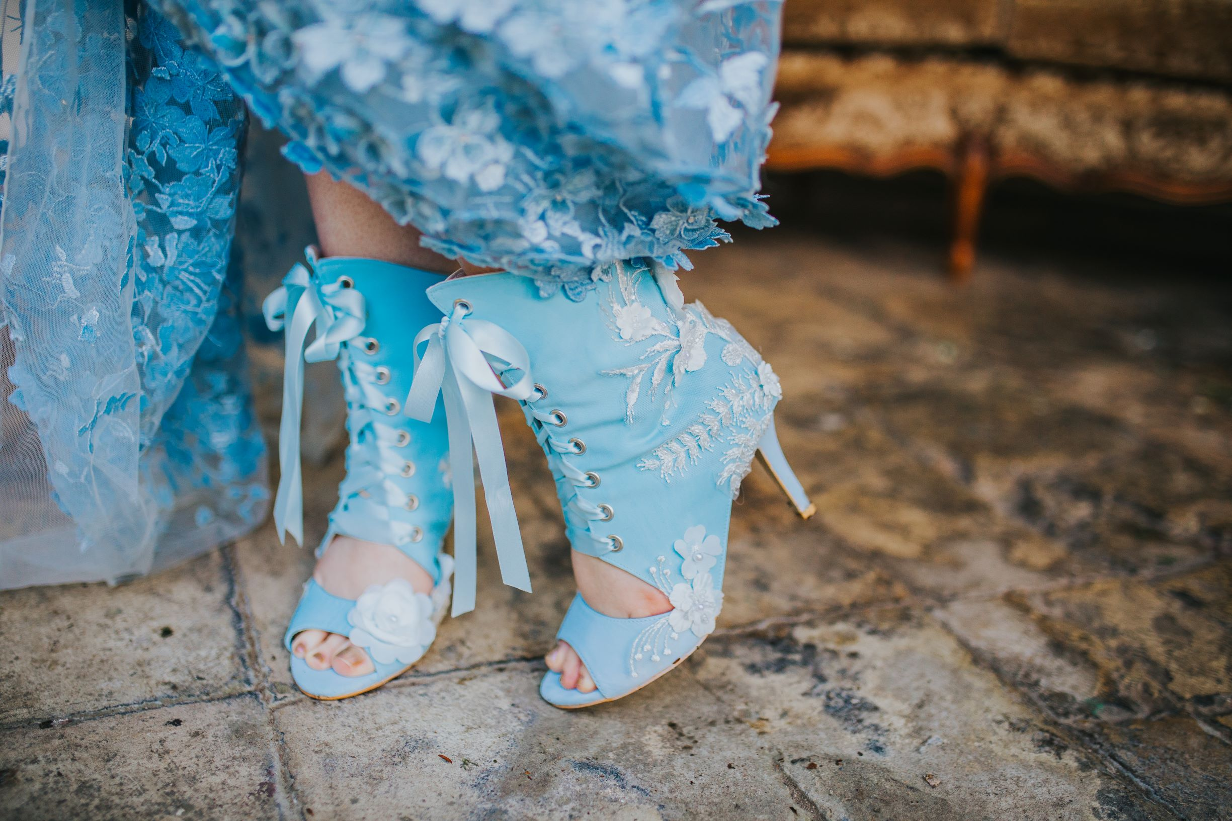 Whimsical wedding- Laura Beresford Photography- unconventional wedding- alternative wedding- something blue- blue wedding boots- alternative wedding boots