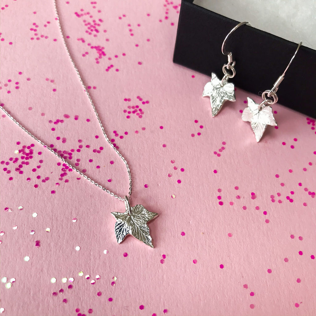 silver leaf necklace and matching earrings handmade by crzybest - individual wedding jewllery for your wedding day