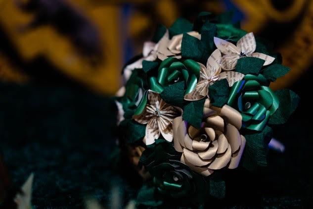 Eternal Posey- Vicki Clayson Photography- Harry Potter Wedding Bouquet- Alternative Wedding Bouquet- Paper Bouquet