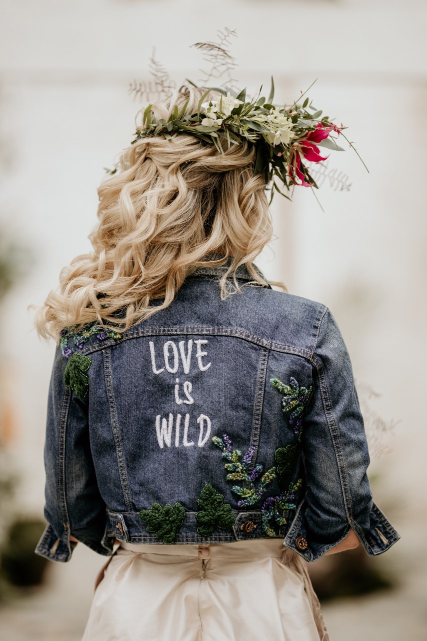 tropical opulence wedding- tropulence- twigs branch photography- unconventional wedding- hand painted denim jacket