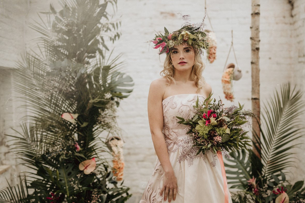 tropical opulence wedding- tropulence- twigs branch photography- unconventional wedding- patterned wedding dress