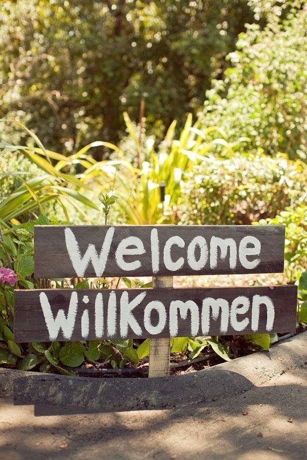 Bilingual Wedding- Yvonne Beck Celebrant- Welcome/Willkommen Sign