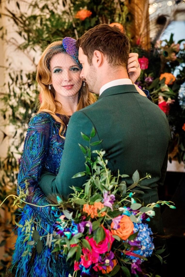 Peacock Wedding-Unique Wedding Dress- Peacock Wedding Dress- Coloured Wedding Dress- Alternative Wedding Dress- unique groomswear