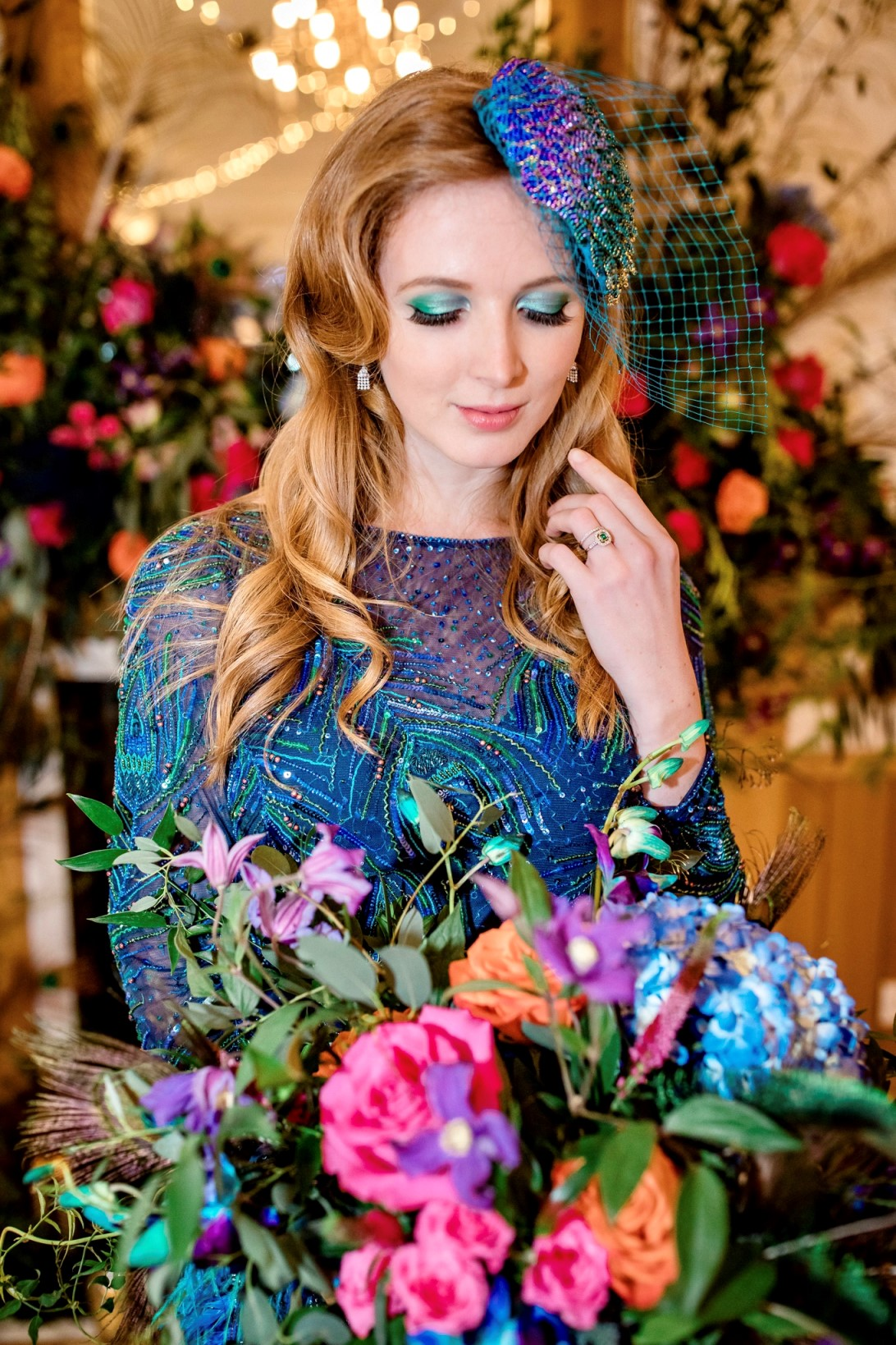 Peacock Wedding-Unique Wedding Dress- Peacock Wedding Dress- Coloured Wedding Dress- Alternative Wedding Dress- colourful wedding flowers