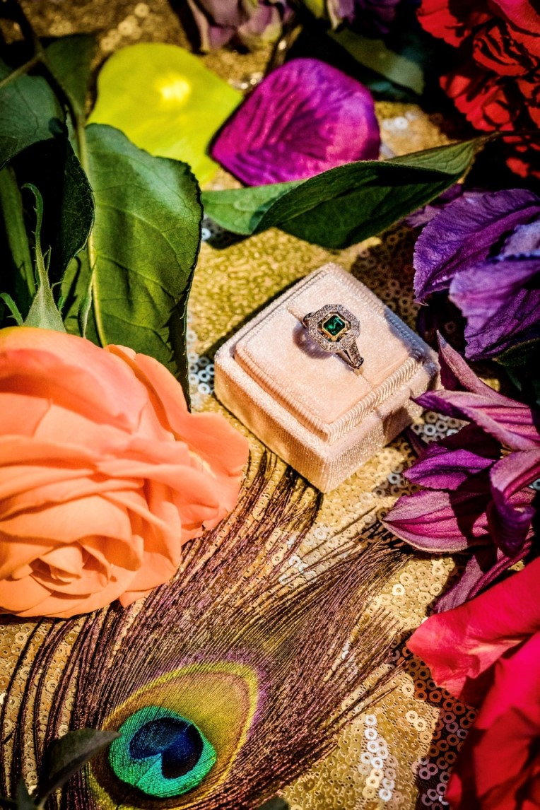peacock wedding- unconventional wedding- peacock wedding ring
