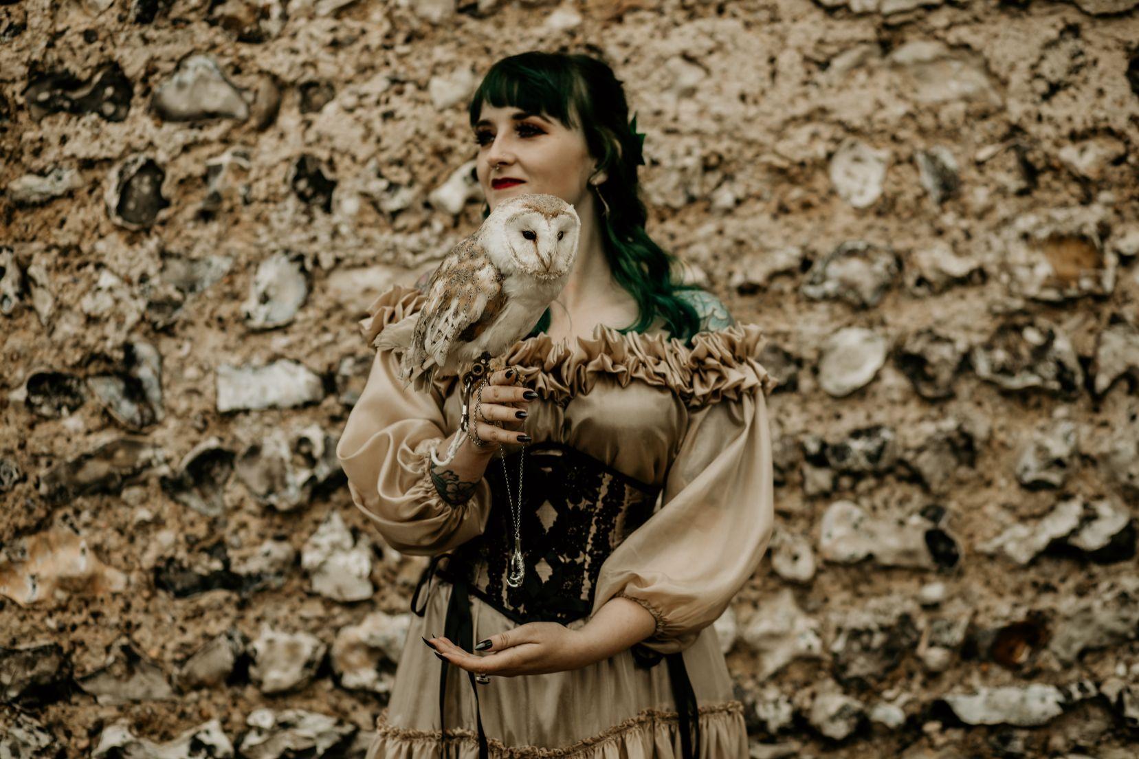 alternative fairytale wedding- snow white wedding- charlotte laurie designs-chloe mary photo- unconventional wedding- alternative wedding inspiration- wedding owl- alternative bridalwear