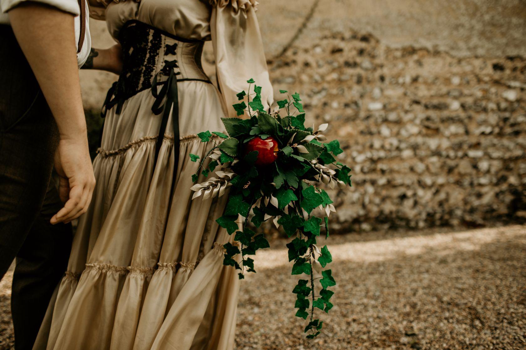 alternative fairytale wedding- snow white wedding- charlotte laurie designs-chloe mary photo- unconventional wedding- alternative wedding inspiration- alternative wedding bouquet- felt wedding bouquet