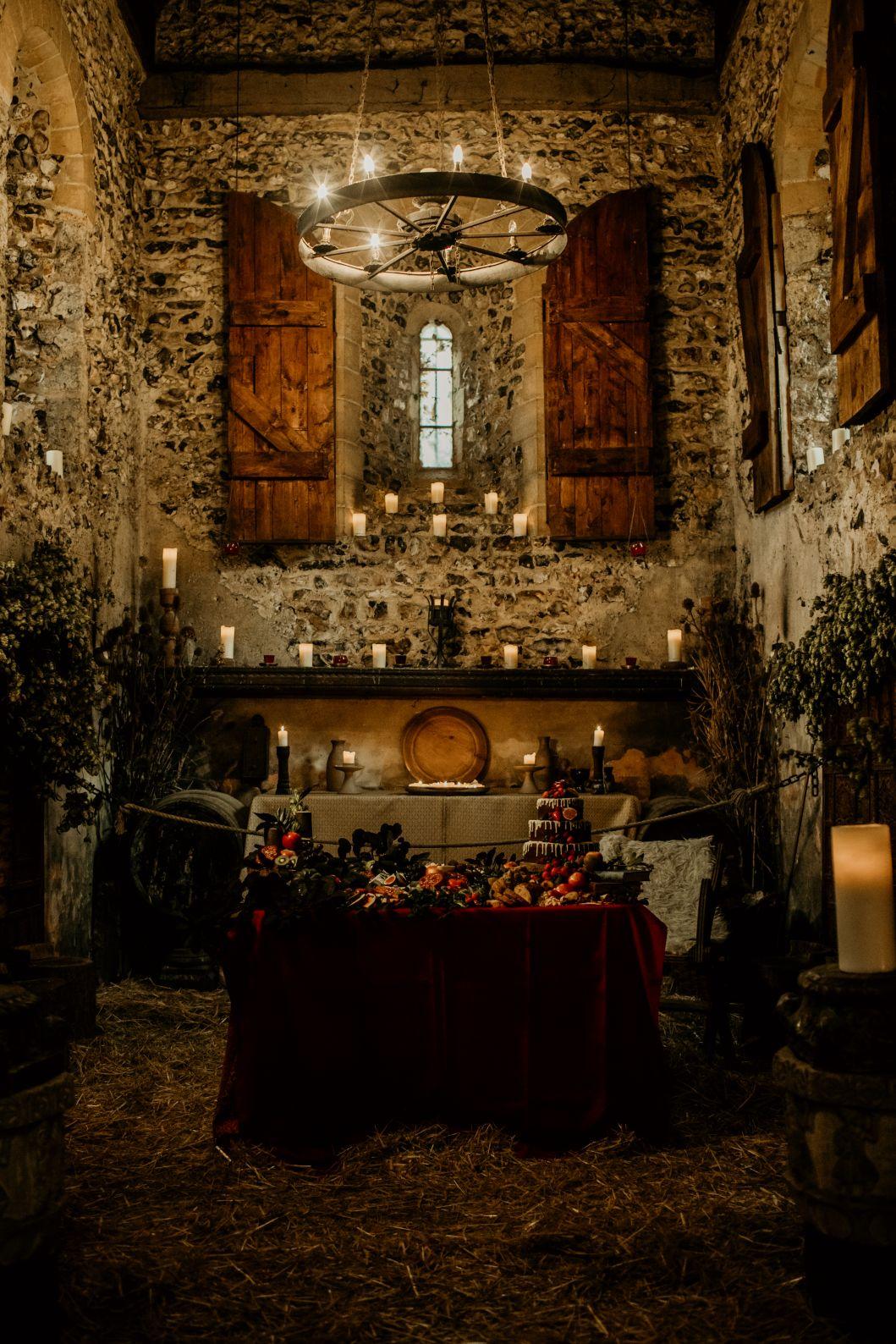 alternative fairytale wedding- snow white wedding- charlotte laurie designs-chloe mary photo- unconventional wedding- alternative wedding inspiration- alternative wedding venue- the lost village of dode