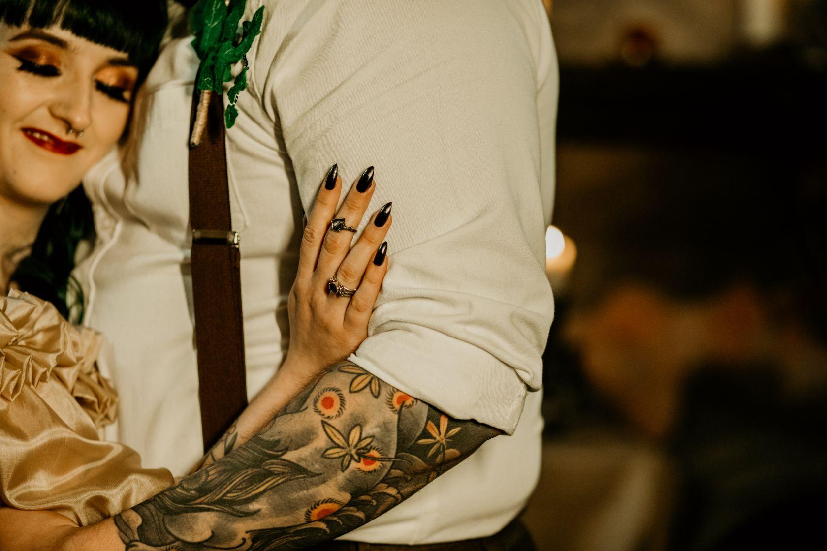 alternative fairytale wedding- snow white wedding- charlotte laurie designs-chloe mary photo- unconventional wedding- alternative wedding inspiration- tattooed wedding