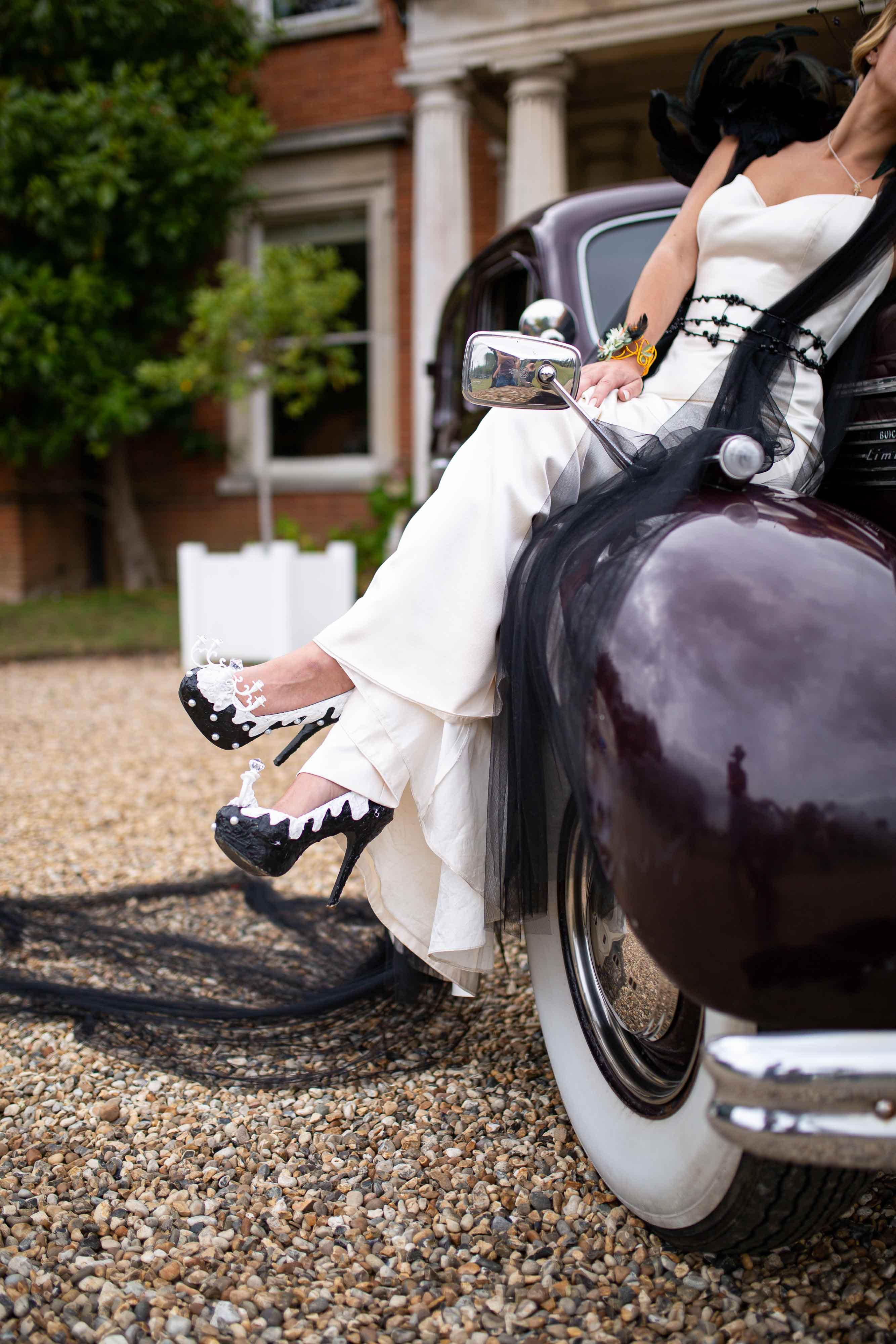 iconic wedding looks- music themed wedding- unconventional wedding- alternative wedding- alternative wedding shoes- lady gaga wedding look- black and white wedding