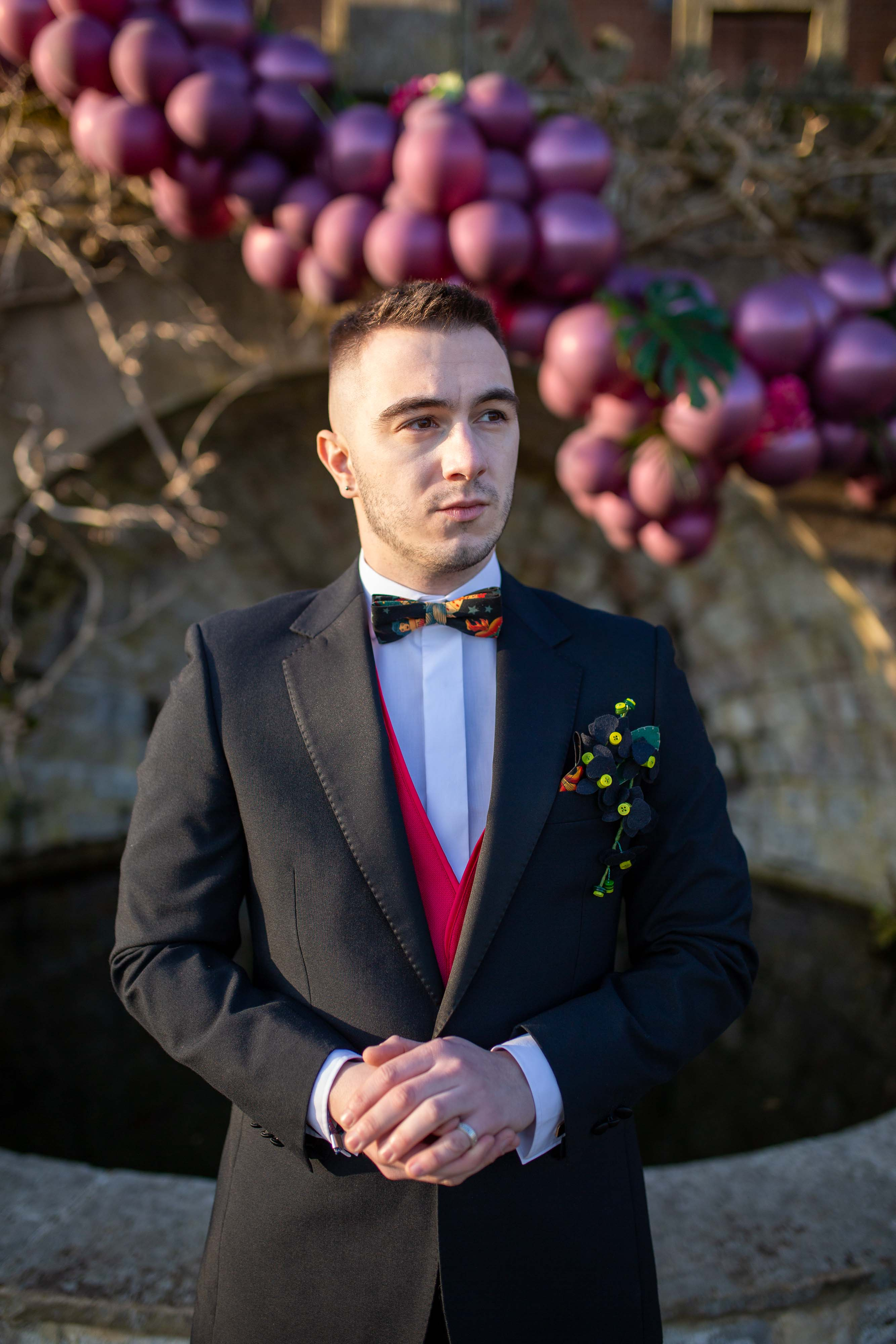 wedding menswear- alternative groomswear- music themed wedding- bake to the future- florence berry photography- unique mens suit