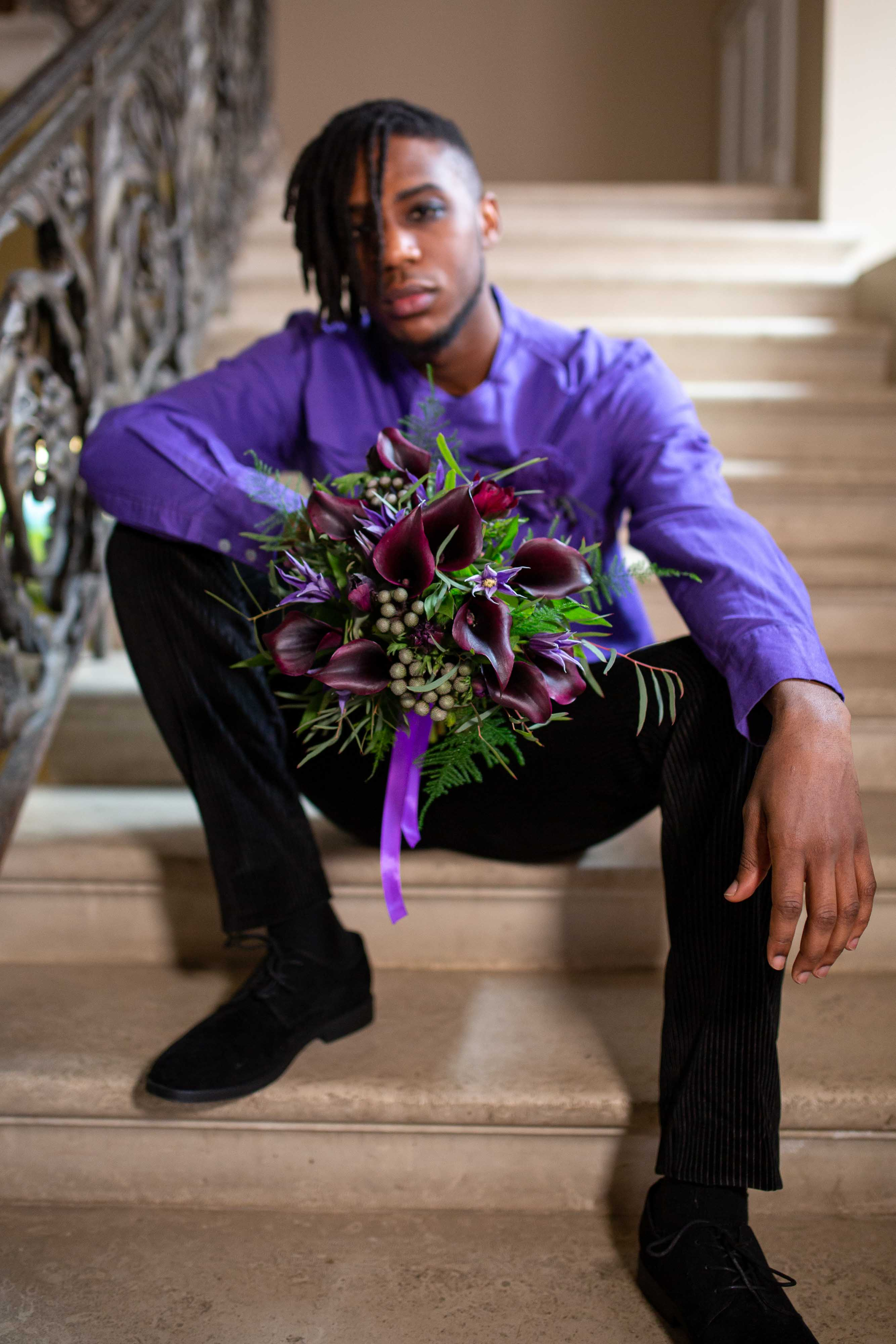 wedding menswear- alternative groomswear- music themed wedding- bake to the future- florence berry photography- grooms purple shirt