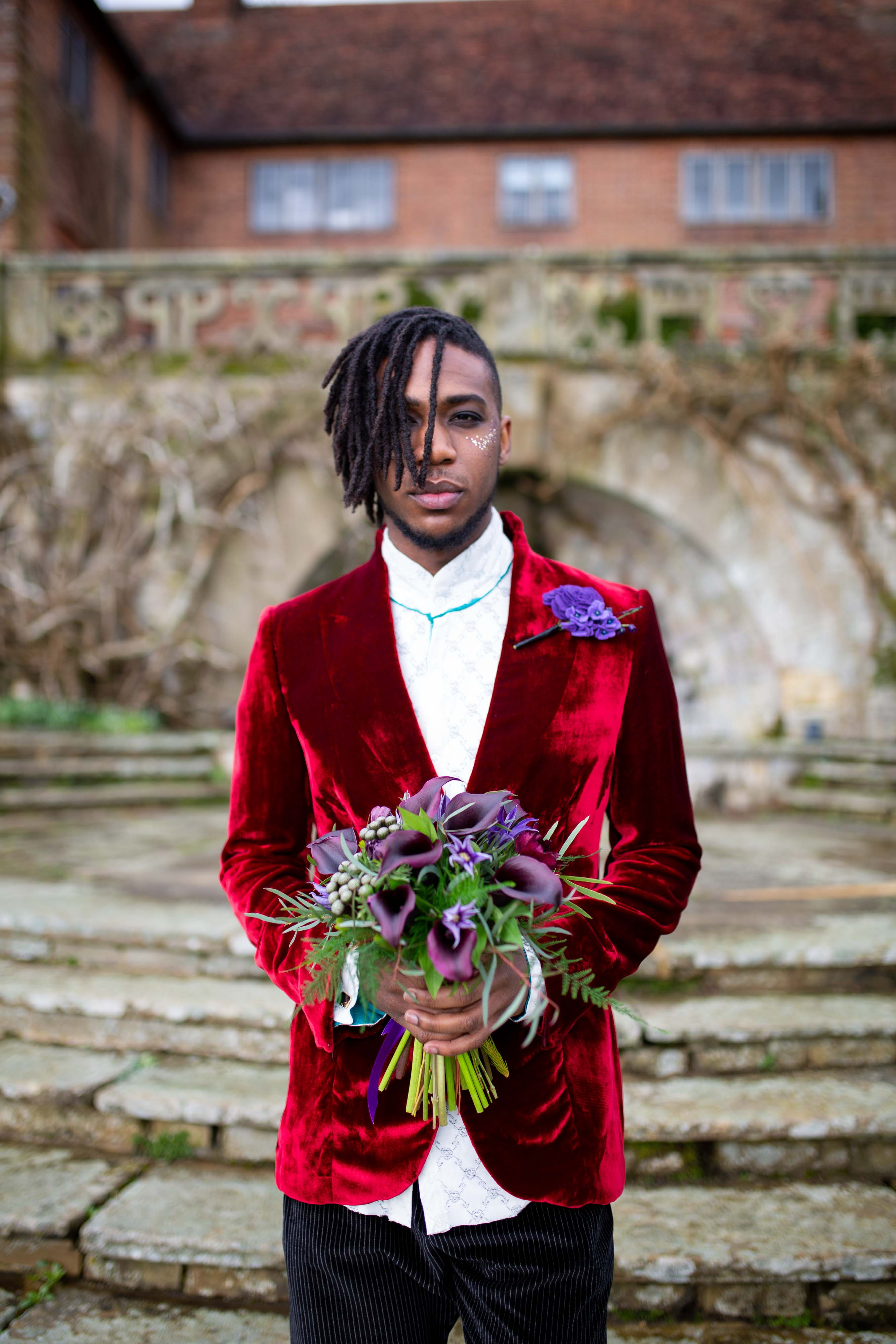 wedding menswear- alternative groomswear- music themed wedding- bake to the future- florence berry photography- prince inspired wedding look