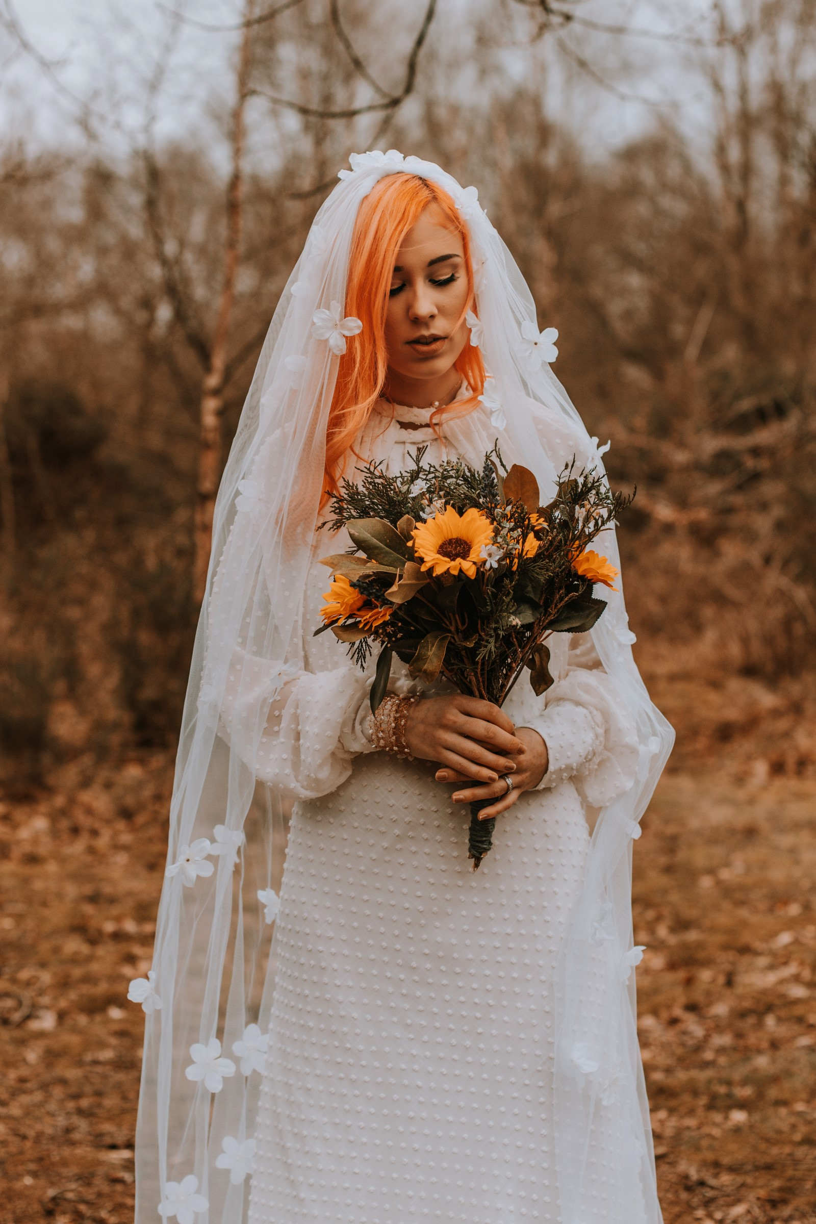 Alternative Forest Wedding - Sammy Leas Retro Emporium -Photography By Wills- alternative wedding - unconventional wedding- edgy woodland wedding- bride with sunflowers