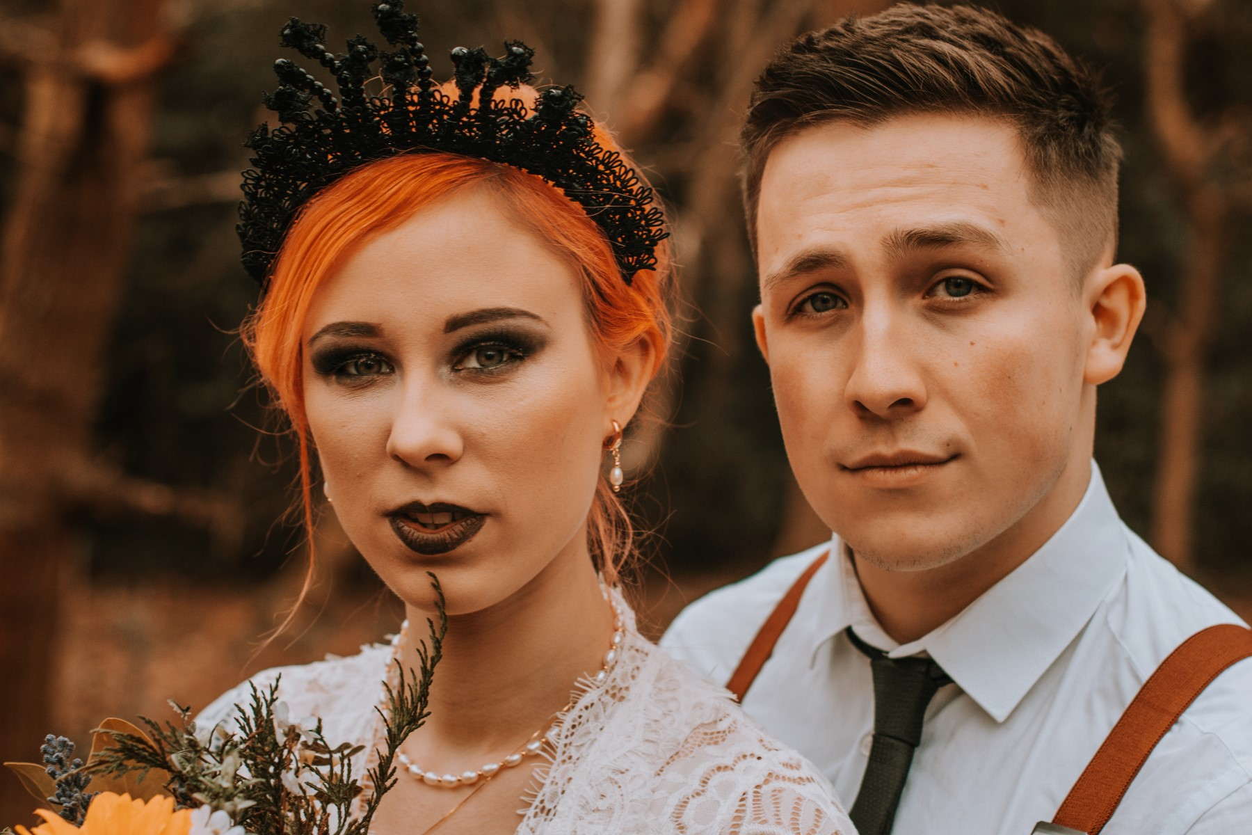 Alternative Forest Wedding - Sammy Leas Retro Emporium -Photography By Wills- alternative wedding - unconventional wedding- edgy woodland wedding- edgy wedding makeup