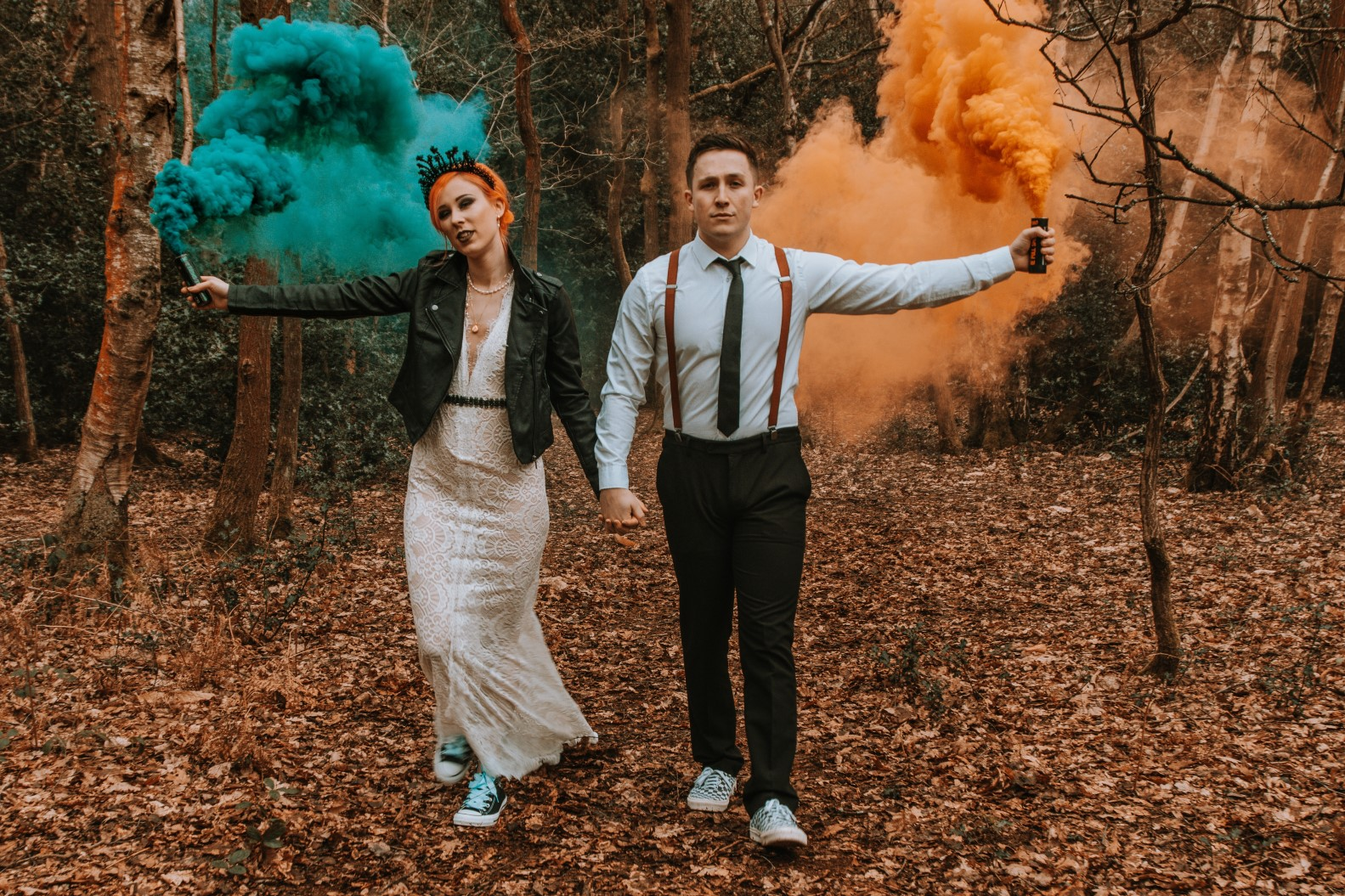 Alternative Forest Wedding - Sammy Leas Retro Emporium -Photography By Wills- alternative wedding - unconventional wedding- edgy woodland wedding- wedding smoke bomb-orange and teal wedding
