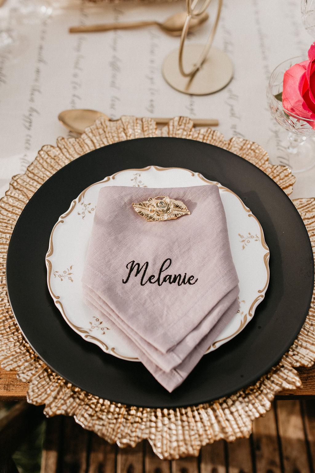 romantic woodland wedding - whimsical wedding- shakespeare wedding- unconventional wedding- embroidered napkin- bespoke wedding napkin