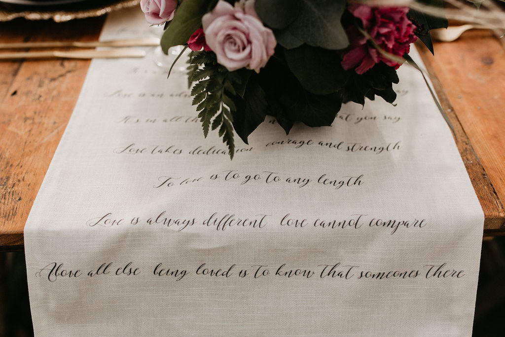 romantic woodland wedding - whimsical wedding- shakespeare wedding- unconventional wedding- wedding table runner