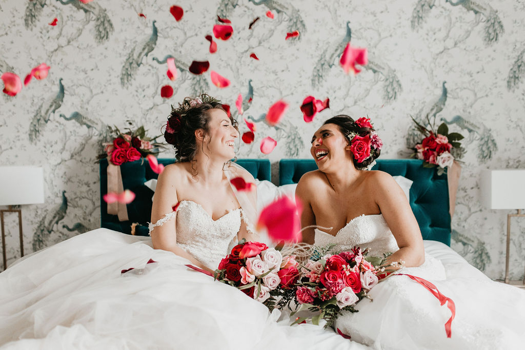 romantic woodland wedding - whimsical wedding- shakespeare wedding- unconventional wedding- same sex wedding- wedding rose petals