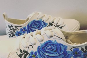 Gamusino designs - hand painted bridal shoes with blue floral detail 12