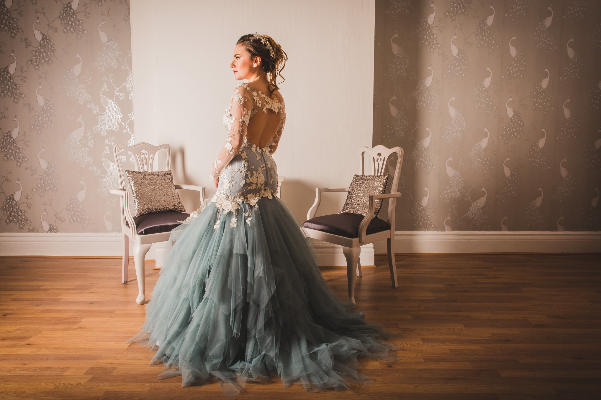 blue wedding dress - coloured wedding dress- fishtail wedding dress- unique wedding dress- blue floral wedding dress