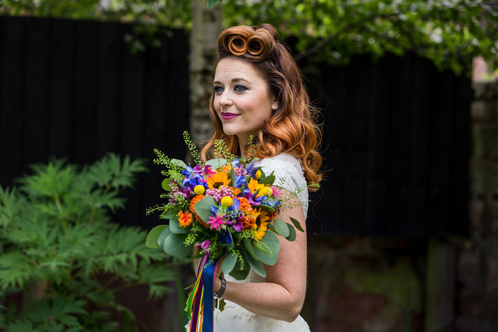 flamingo wedding - colourful wedding - rainbow wedding - garden wedding - summer wedding - unconventional wedding - alternative wedding- retro bride - vintage bridal hair - colorful wedding bouquet