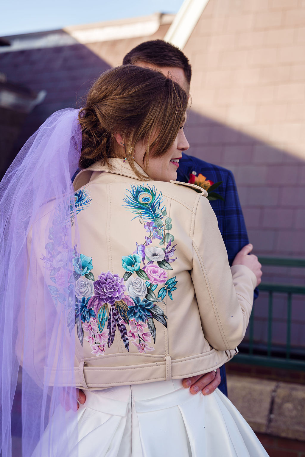 peacock themed wedding - peacock wedding - unique wedding colour scheme - quirky wedding - luxurious wedding - hand painted leather jacket - hand painted wedding jacket - purple veil- purple wedding veil- coloured wedding veil - unique wedding veil - alternative bridalwear