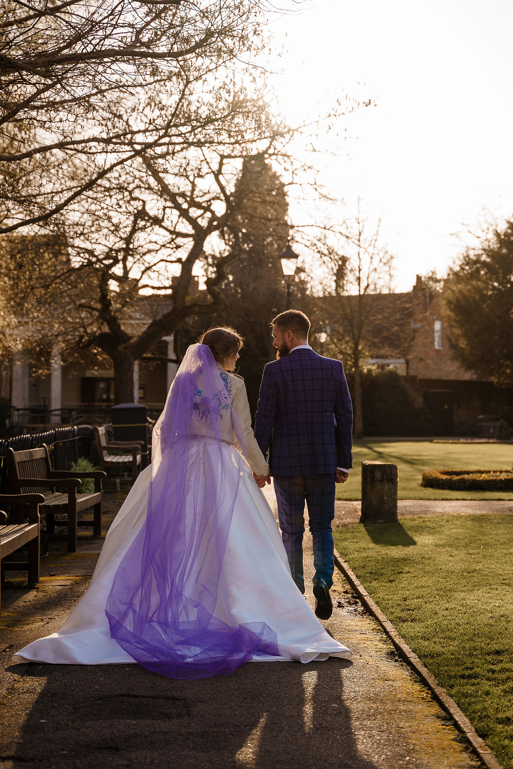 peacock themed wedding - peacock wedding - unique wedding colour scheme - quirky wedding - luxurious wedding - unique bridal veil - purple veil- ombre wedding veil- alternative bridal wear