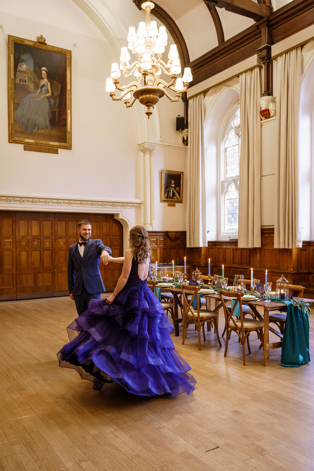 peacock themed wedding - peacock wedding - unique wedding colour scheme - quirky wedding - luxurious wedding - purple wedding dress- alternative wedding dress- unique wedding dress- coloured wedding dress