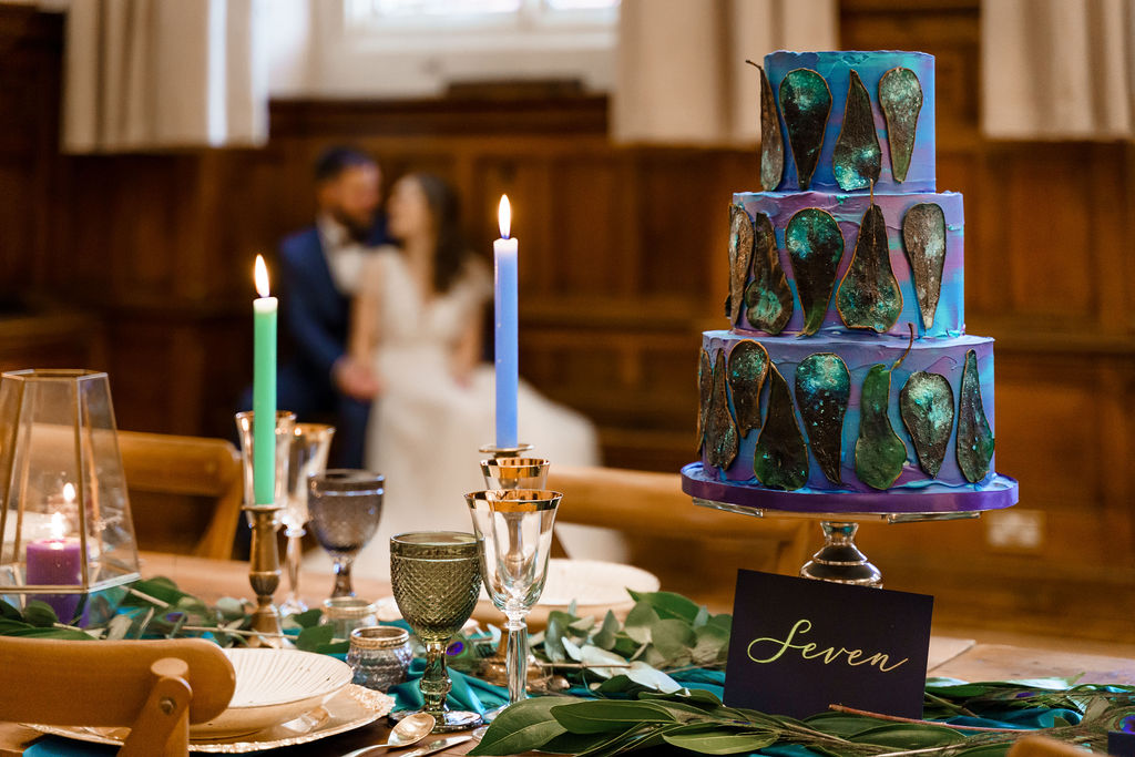 peacock themed wedding - peacock wedding - unique wedding colour scheme - quirky wedding - luxurious wedding - unique wedding cake - peacock wedding cake - colourful wedding cake
