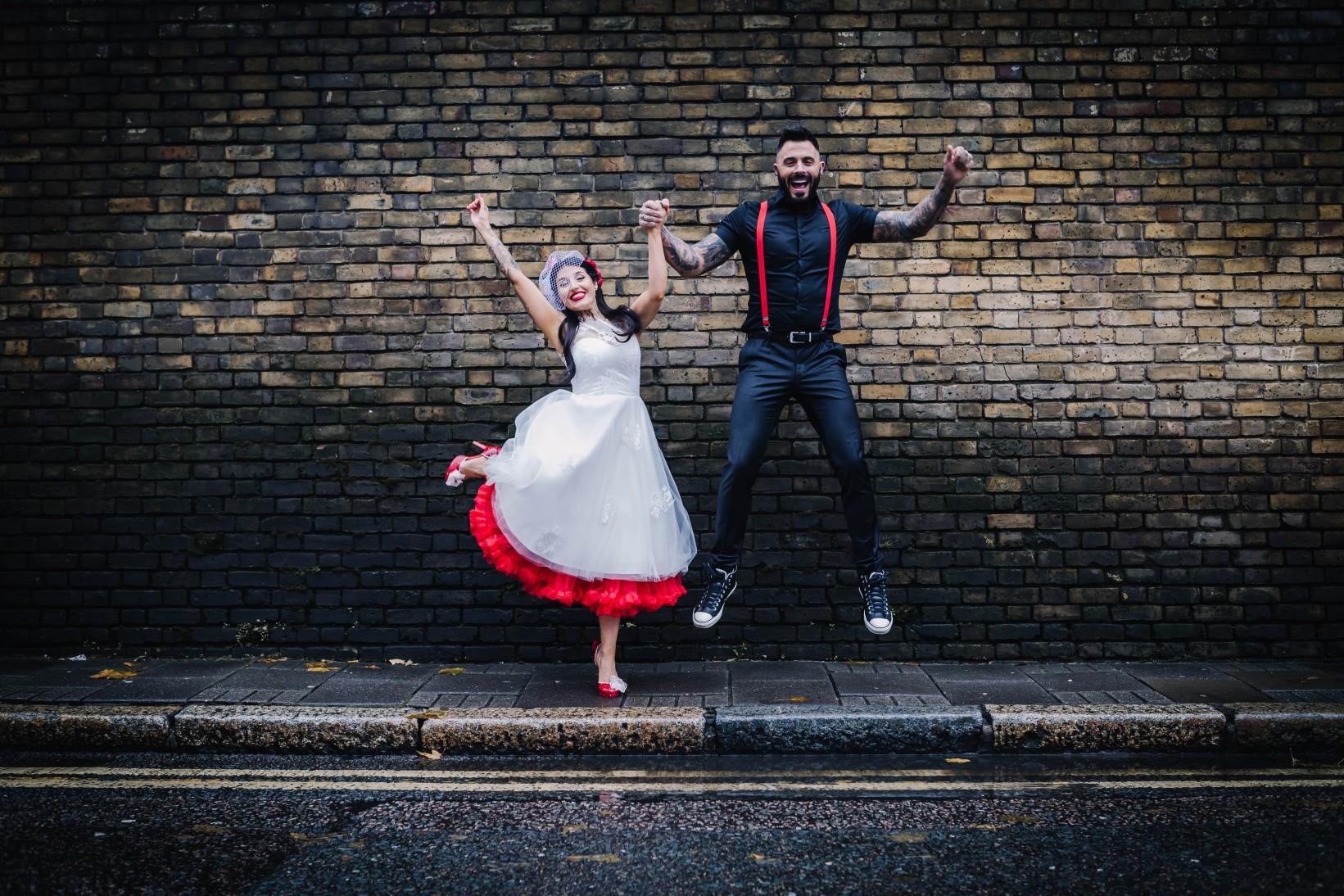 urban rockabilly wedding - east london wedding- urban wedding- rockabilly wedding- edgy wedding - retro wedding - alternative wedding- unconventional wedding- tattooed wedding- red wedding - retro wedding