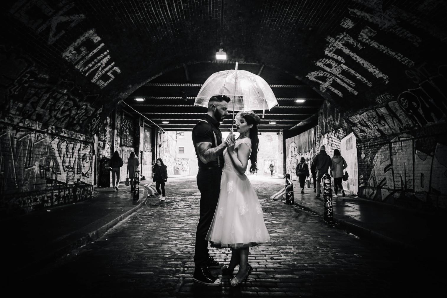 urban rockabilly wedding - east london wedding- urban wedding- rockabilly wedding- edgy wedding - retro wedding - alternative wedding- unconventional wedding- tattooed wedding- birdcage veil - black and white wedding photo