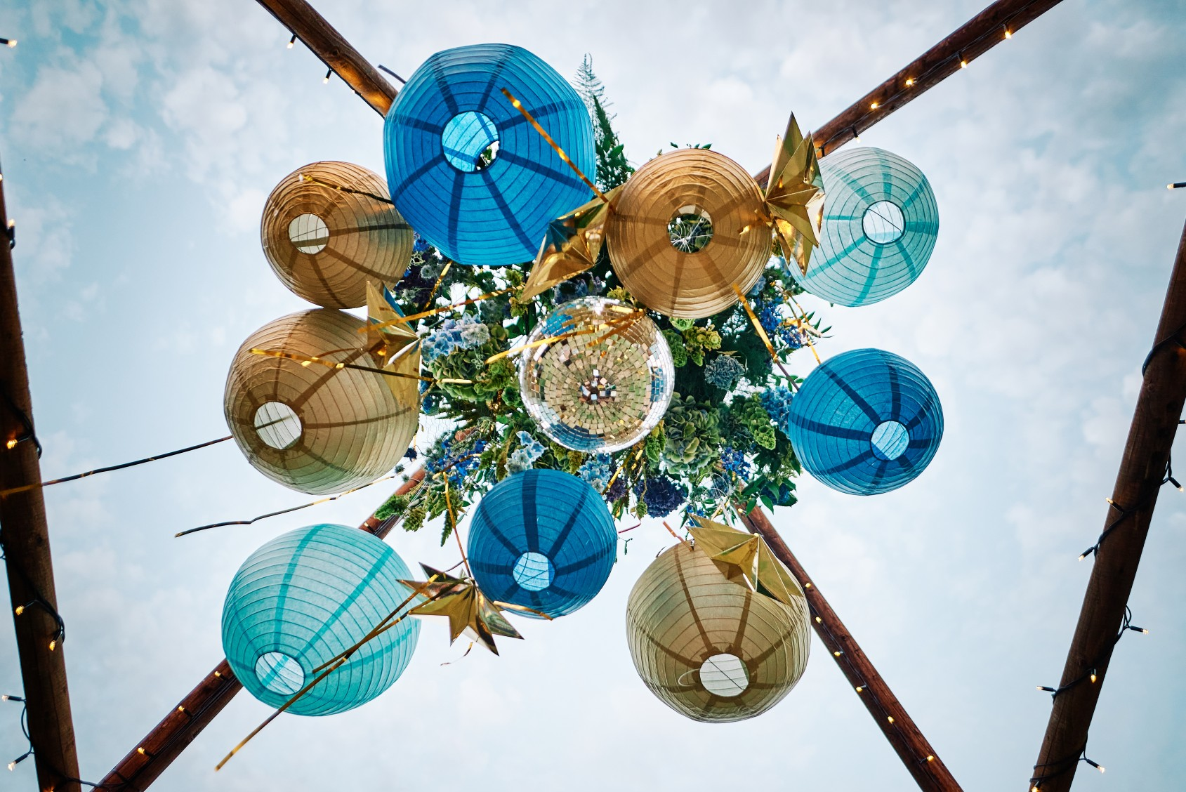 nhs wedding - paramedic wedding - blue and gold wedding - outdoor wedding - micro wedding - surprise wedding - blue and gold paper lanterns
