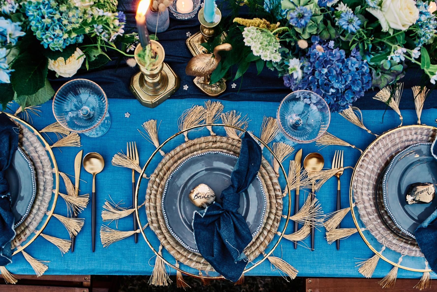 nhs wedding - paramedic wedding - blue and gold wedding - outdoor wedding - micro wedding - surprise wedding - bohemian wedding table styling