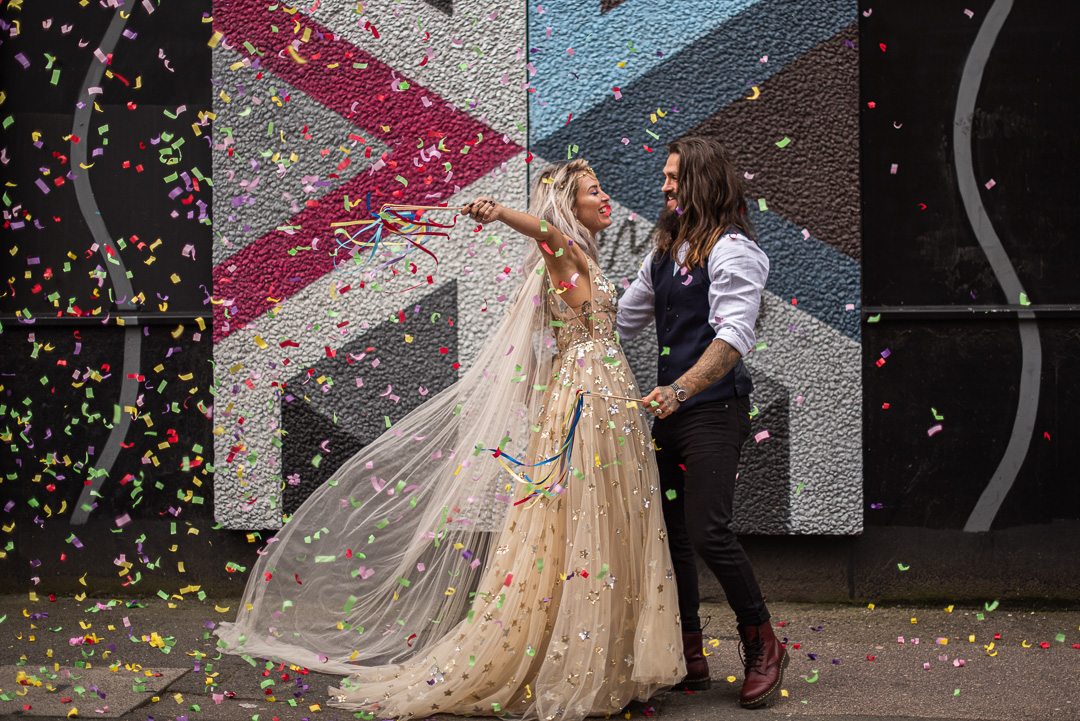 colourful urban wedding - alternative wedding - modern wedding - city wedding planning - quirky wedding inspiration- colourful wedding inspiration - edgy wedding - wedding confetti shot