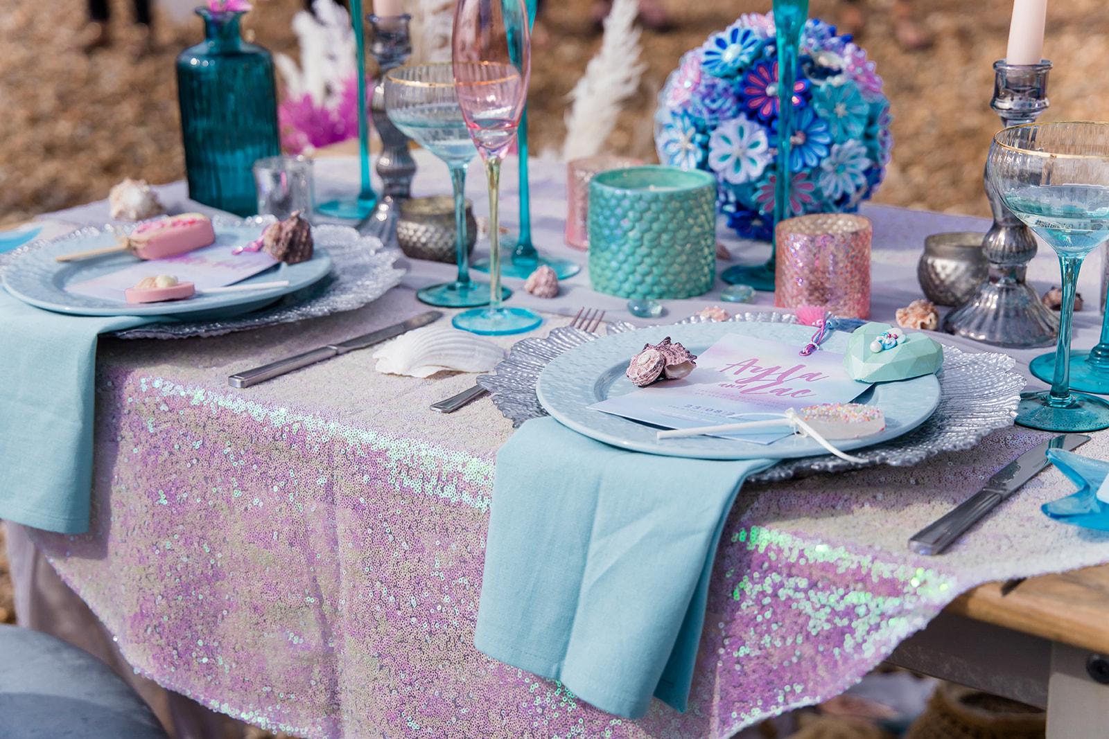 mermaid wedding - beach wedding - quirky wedding - unique wedding - alternative seaside wedding - alternative wedding - pastel blue and pink wedding