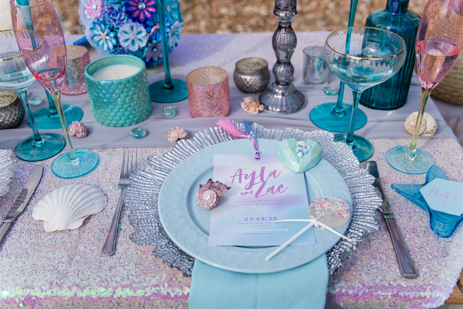 mermaid wedding - beach wedding - quirky wedding - unique wedding - alternative seaside wedding - alternative wedding - eclectic wedding styling - pastel blue and purple wedding table