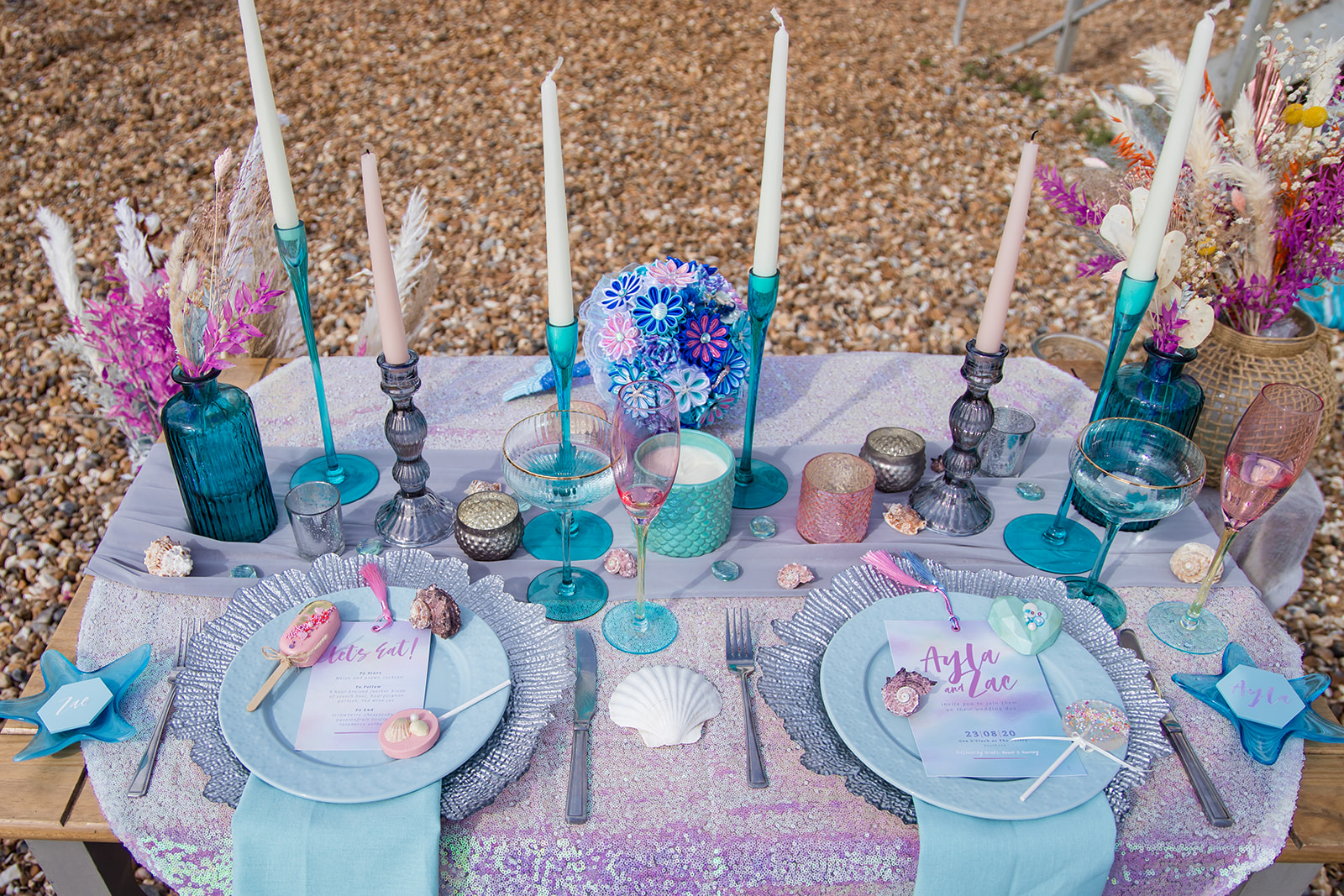 mermaid wedding - beach wedding - quirky wedding - unique wedding - alternative seaside wedding - alternative wedding - sparkly wedding - pastel mermaid colour scheme